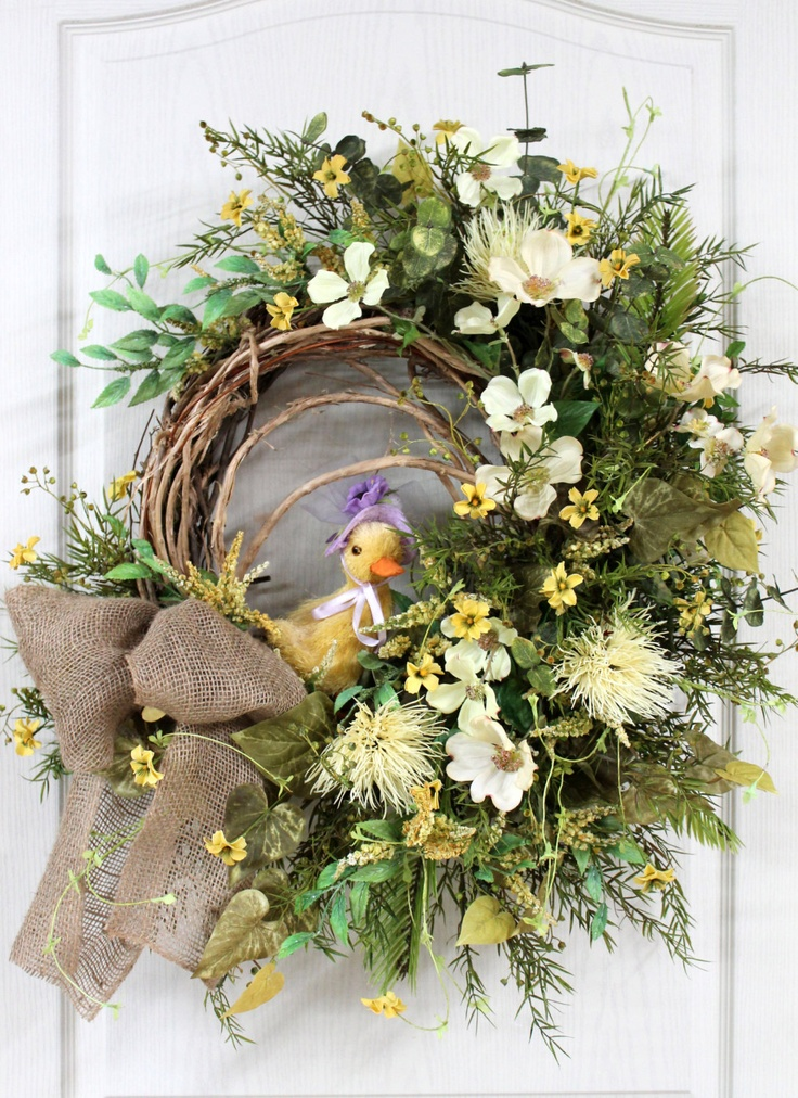 Easter Front Door Wreath, Country Wreath, Easter Wreaths, Burlap Bow, Easter Chick, Great for Easter Decor -- FREE SHIPPING. $158.00, via Etsy.