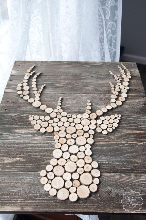 Wood Sliced Deer head Silhouette Wall Decor by ToplineDesignLLC                                                                                                                                                                                 Mehr