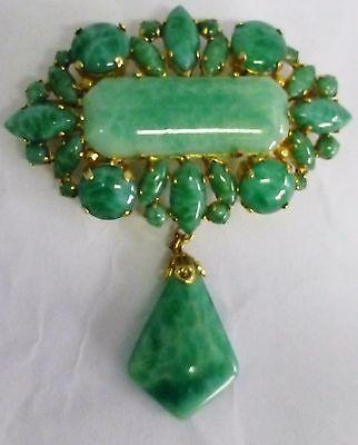 Schreiner-New-York-Jade-Color-Cluster-Brooch-Pin-Stunning-Signed