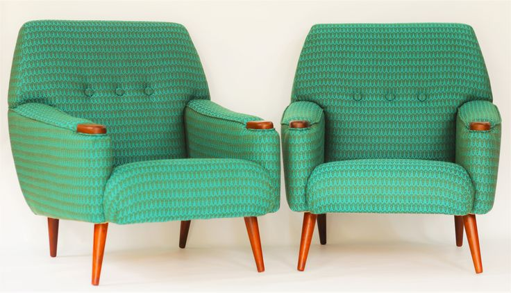 Mid-Century Modern lounge chairs.  Made in 1963, rebuilt by THE ELECTRIC CHAIRMAN using Timorous Beasties designed fabric for Bute.  See website for details: www.theelectricchairman.com