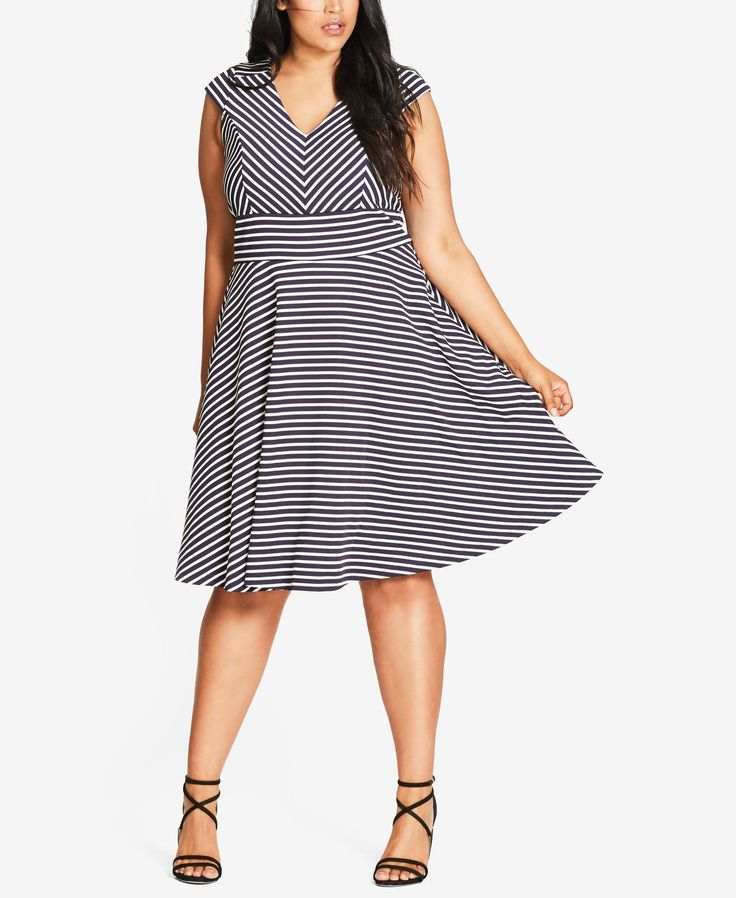 City Chic Trendy Plus Size Chevron Fit & Flare Dress