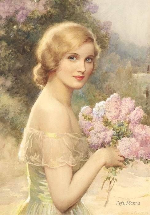 Girl With Lilacs ~ Albert Henry Collings ~ (English 1868-1947)