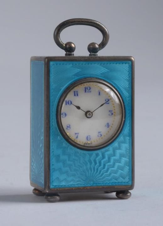 As pretty as the sky on this gorgeous day! Swiss Blue Enamel and Silver Miniature Carriage Clock!