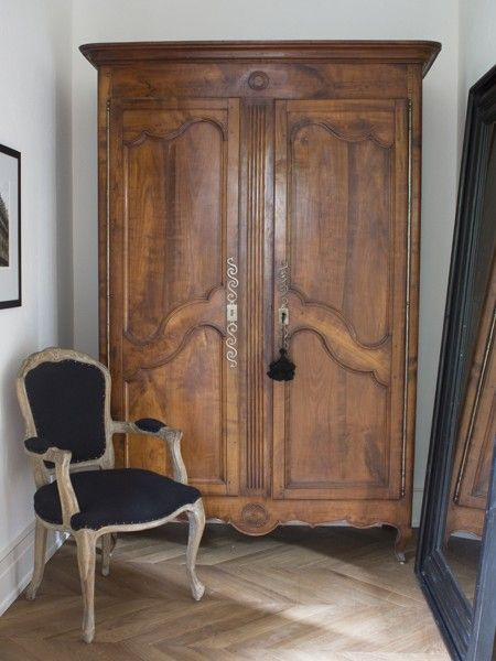 Antique wardrobe for coats. Looks great but I kind of wanted to use the coat closet that came with our home...
