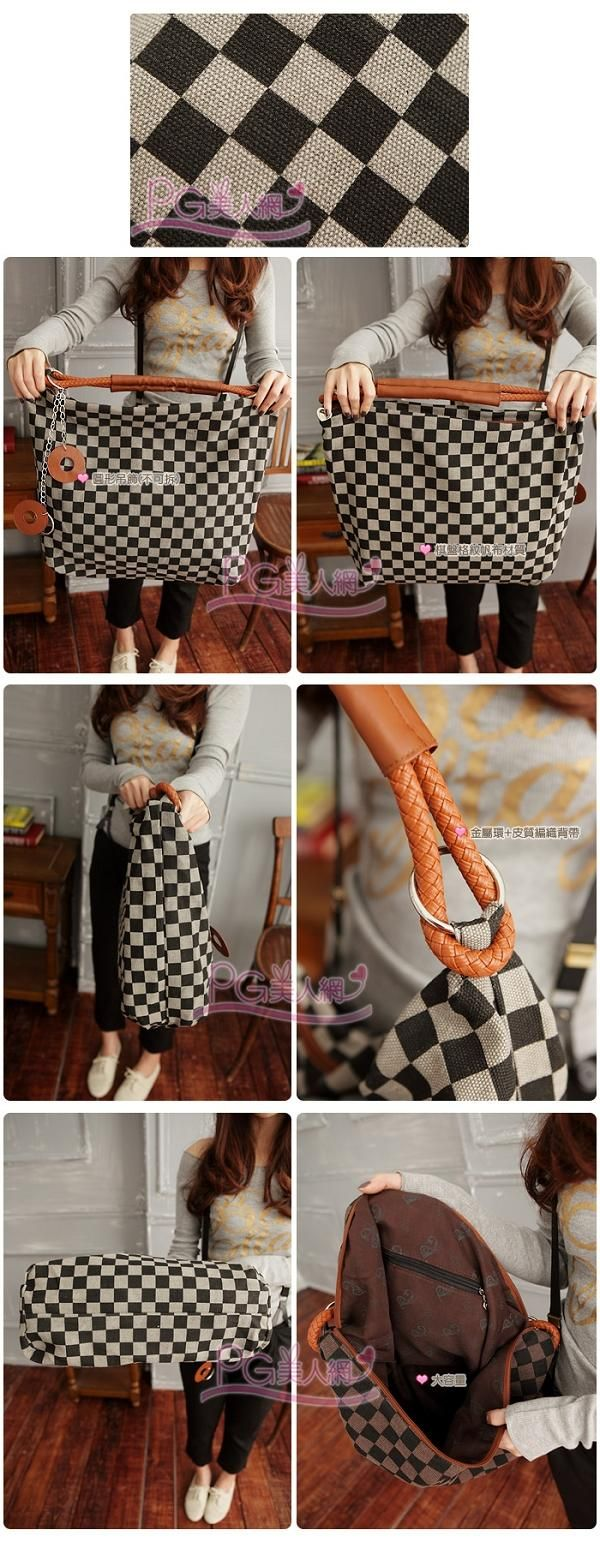 Check Pattern Hobo Bag ... Like the handle & ring detail