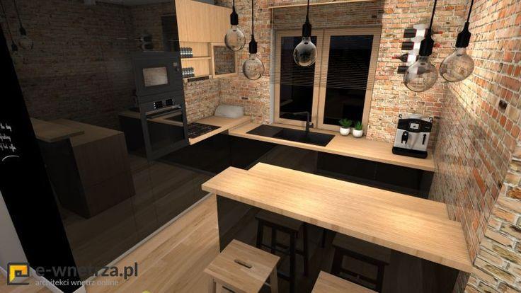 Kuchnia 1 :) Salon i kuchnia z nutką klimatu loftowego.  Godziszewo 2014r.