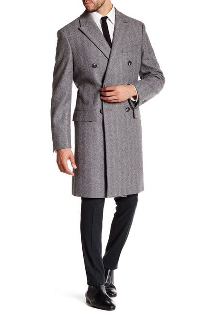Image of JACK SPADE Kempton Double-Breasted Wool Blend Topcoat
