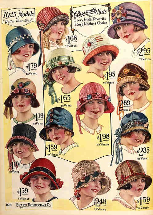 An adorable variety of little girls' hats from the Spring-Summer 1925 Sears Catalog.