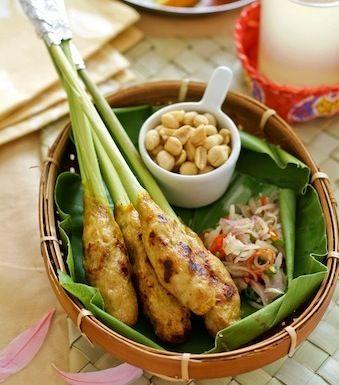 Balinese fish satay (sate lilit) with Balinese spicy condiment (sambal matah).