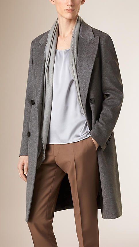 Dark grey melange Cashmere Wool Blend Topcoat - Image 1