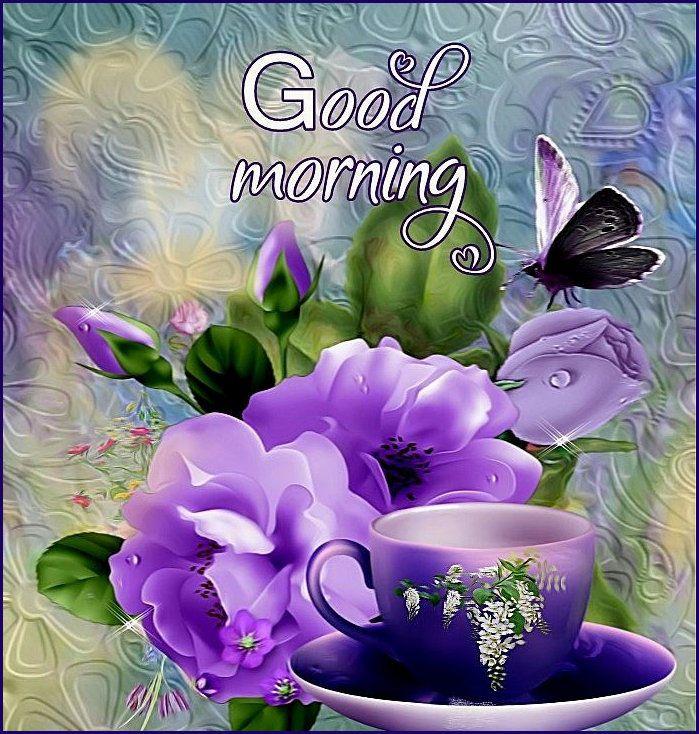 E14374j Goodmorning Good Morning Flowers Purple Flowers Good Morning Picture