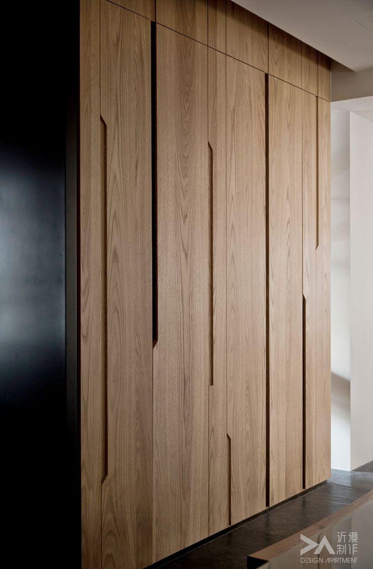 Cupboard, dressing. Wood with elegant cuts as handles.