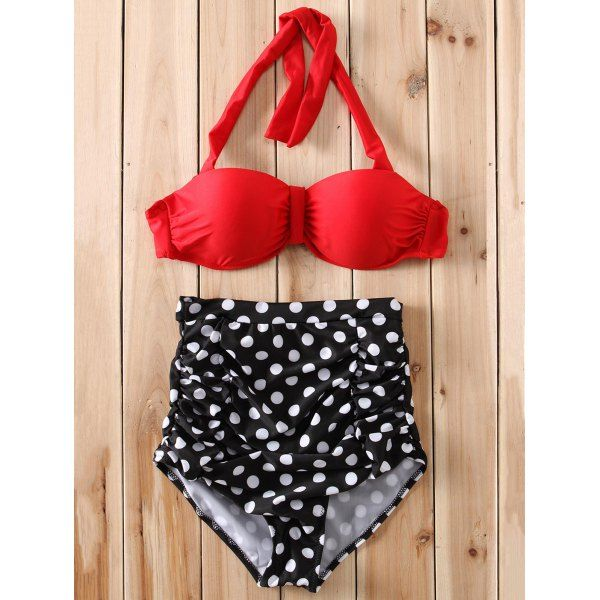 Sexy High-Waisted Halter Polka Dot Women's Bikini Set #men, #hats, #watches, #belts, #fashion