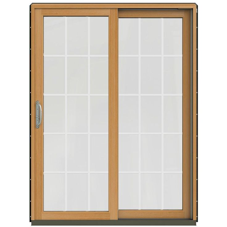 Jeld Wen 60 In X 80 In W 2500 Contemporary Bronze Clad Wood Right Hand 15 Lite Sliding Patio Door W Stained Interior Jw2201 01604 Sliding Patio Doors Patio Doors Interior Stair Railing