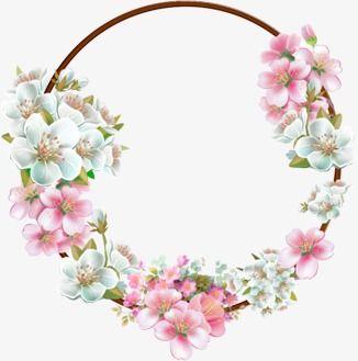 Круглая акварельная цветочная рамка PNG Image