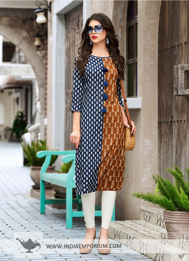 Astounding Cotton Printed Blue & #Brown #Dual #Tone #Kurti