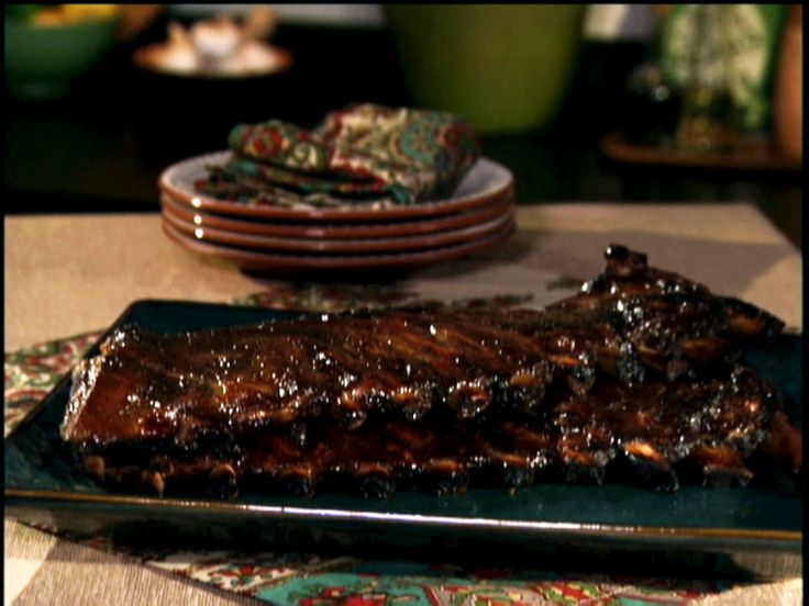 Honey-Mustard Glazed Ribs in Oven and Broiler | Bobby Flay via Food Network