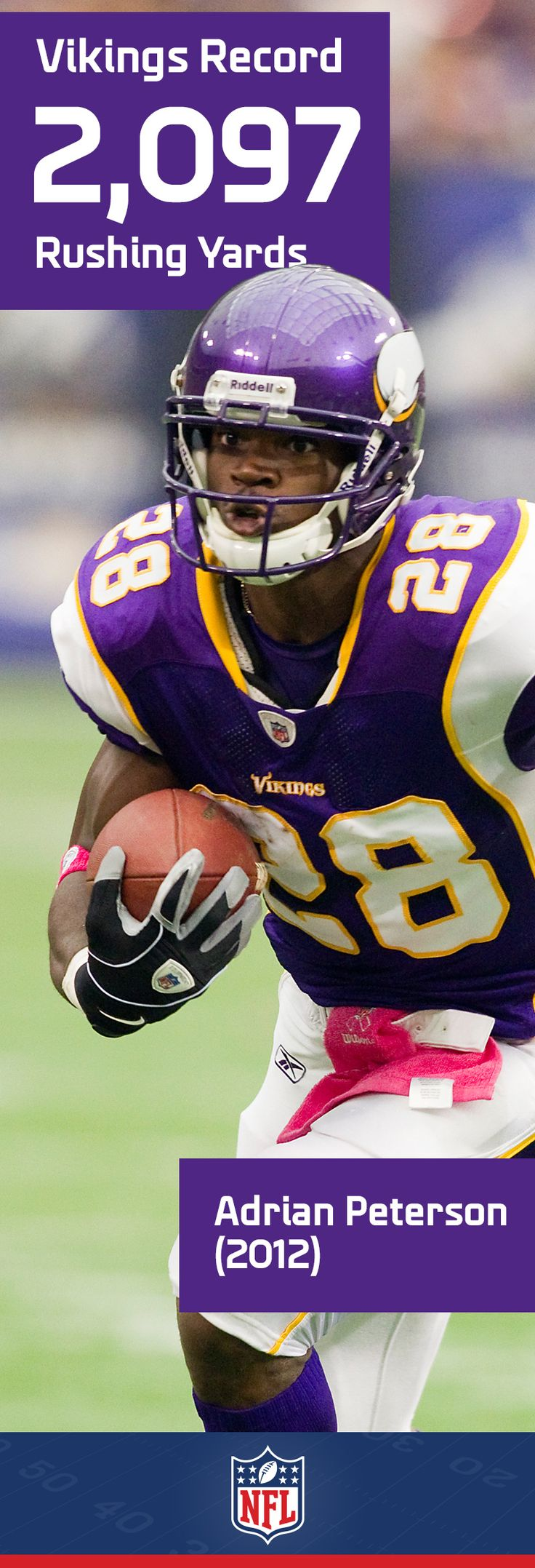 Bringing Adrian Peterson to the ground is no easy task and his Vikings rushing record was only 9 shy of the all-time NFL record.
