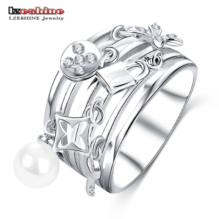 LZESHINE New Design Women Ring Multilayer Hollow Silver Plated Finger Ring Exquisite Decorative Jewelry CRI0419-B