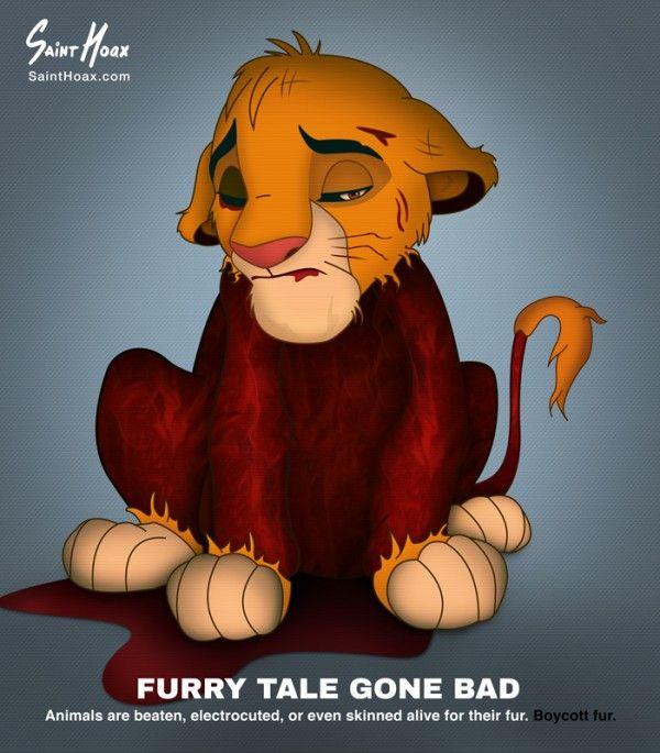 Personajes de Disney desollados protestando en contra del comercio de pieles de animales