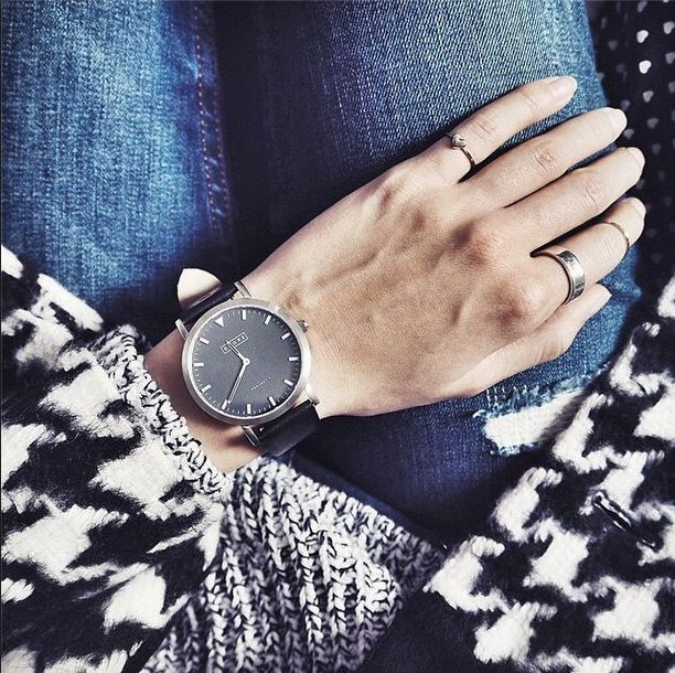 denim,knits,houndstooth and an oversized watch