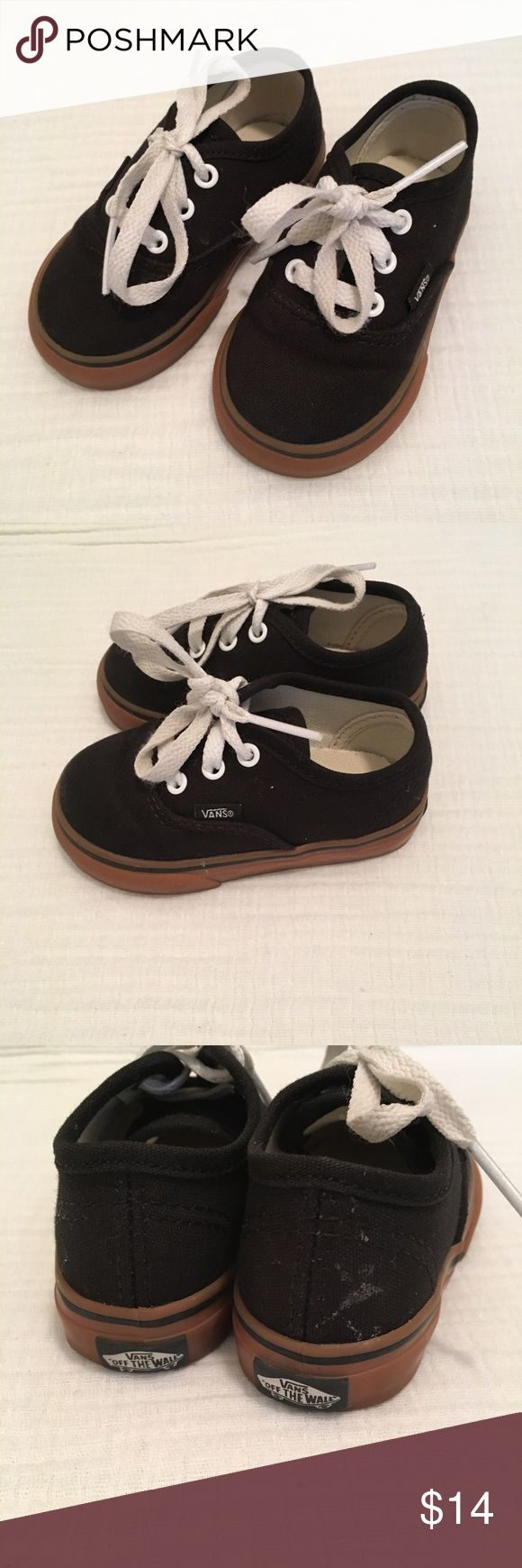 Toddler vans black with white laces. Gently used black vans small mark of back of one shoe (see pictures). Should come out if washed. Vans Shoes Sneakers