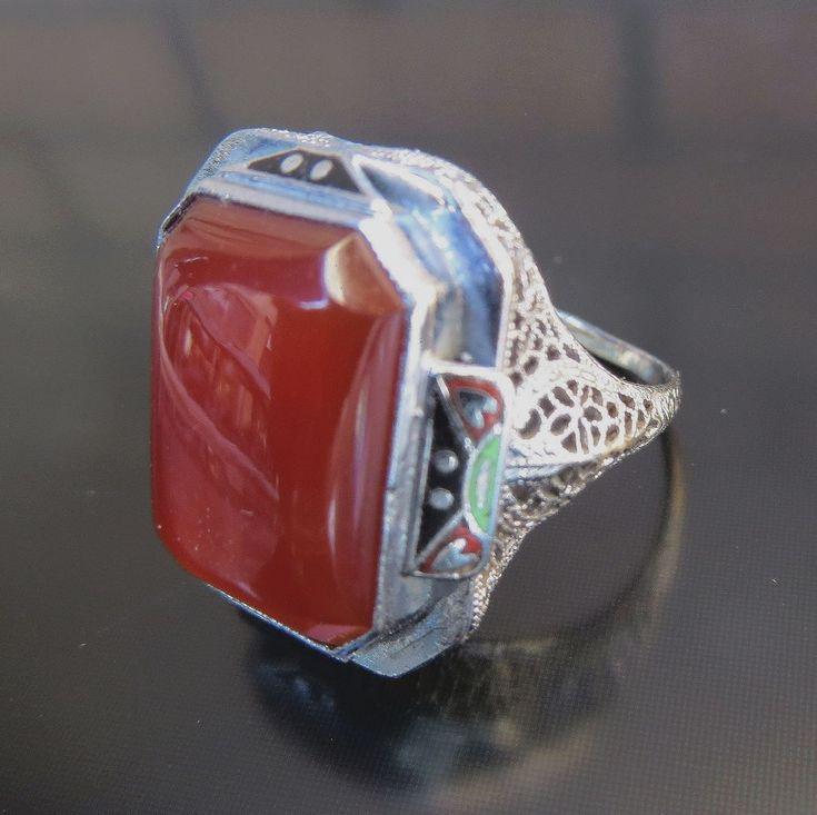 !!!  14K Art Deco Enameled Carnelian Ring