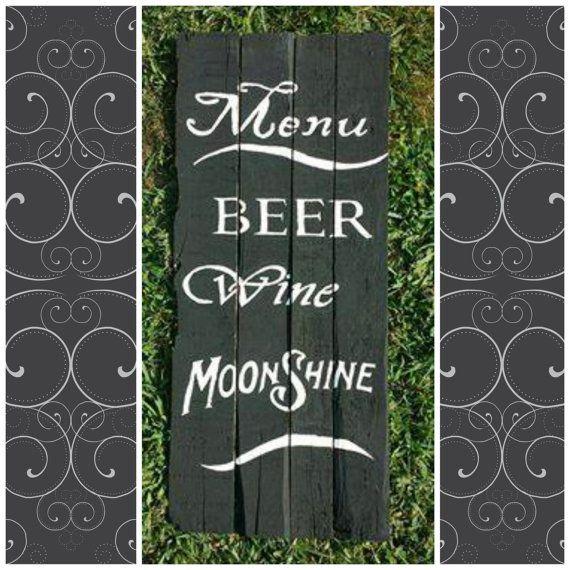 Beer Wine & Moonshine Bar Menu Pallet Sign by PrimitivePaintings