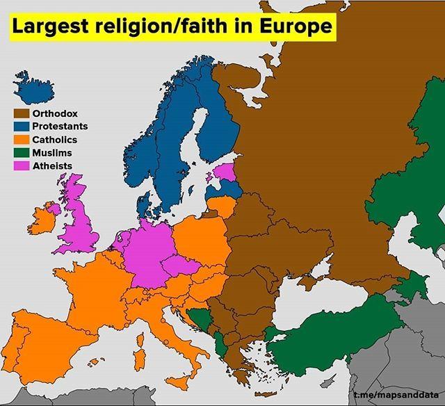 😮 🙂 . . . . . Largest religion/faith in Europe in each country  #data #infographic #visual #russia #france #uk #usa #denmark #paris #london #moscow #germany #italy #ukraine #poland #spain #greece #turkey #rome #istanbul #madrid #barcelona #berlin #warsaw #prague #vienna #serbia #ireland #kiev #minsk . . . . Credits: @maps_data