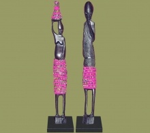 African Beaded Statues Pair Pink Large