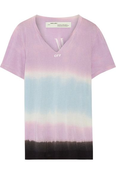 Off-White - Printed Tie-dyed Micro Modal T-shirt - Lavender - xx small