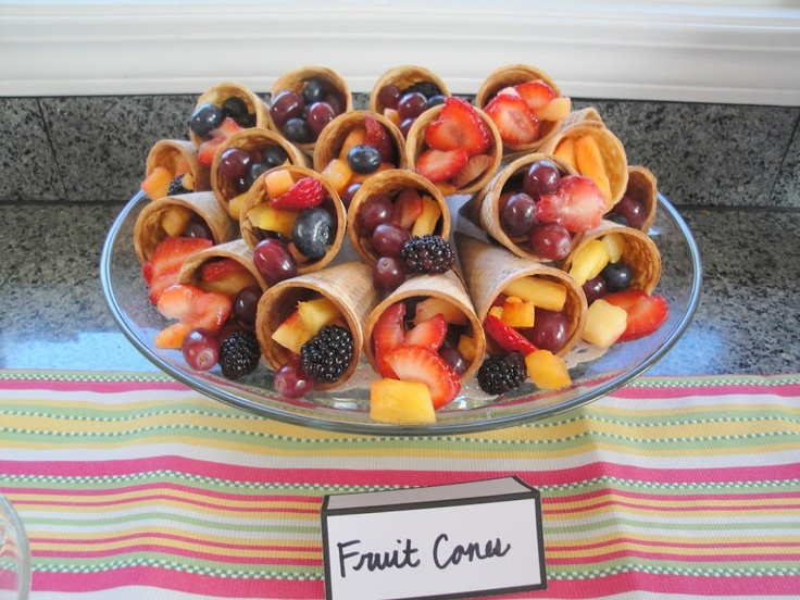 Fruit cones -- made for a gorgeous display, and would be even better in larger cones