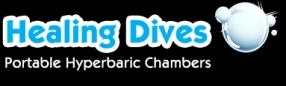 Healing Dives Logo.  For information on the Healing Dives portable hyperbaric chambers, visit our web site at http://www.healingdives.com.