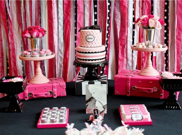 Barbie Fashion Runway Birthday Party! Pink & Ebony Dessert Table