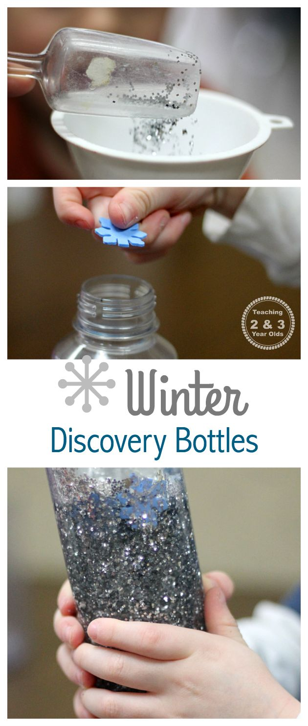 Toddlers and preschoolers love discovery bottles, so why not have them be involved in the process of making them? We loved adding these bottles to our winter theme!