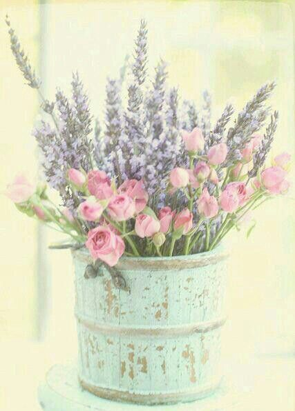 lavender and wild roses. lovely containers we can supply all these canisters for weddings at www.funkyflowers.org