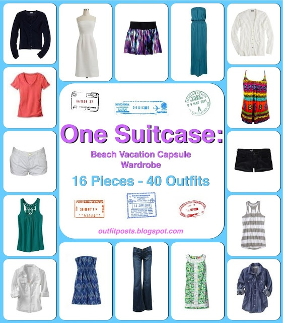 Outfit Posts: one suitcase: beach vacation capsule wardrobe    I'll be glad I pinned this come vacation time. - HH