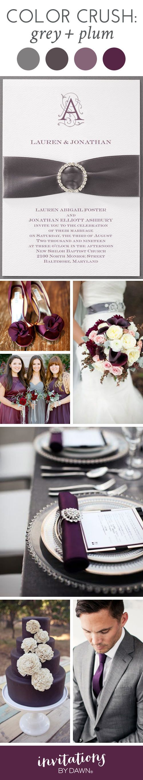 Wedding Color Crush: Grey and Plum I Chic and sophisticated with a touch of dramatic flair, grey and plum wedding colors will make a statement about your style. If you want a timeless wedding look guests will not soon forget, this is the perfect color combo.
