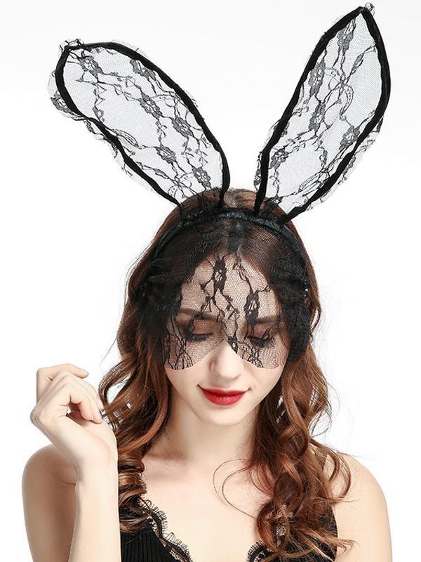 Women S Halloween Bunny Ears Lace Headband With Veil Lace Headbands Lace Veils Headbands