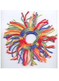 Fringed Scrunchie Copyright to Judith Prindle 10/05/05 1 hair elastic small amount of worsted weight yarn size G crochet hook Rnd: ...