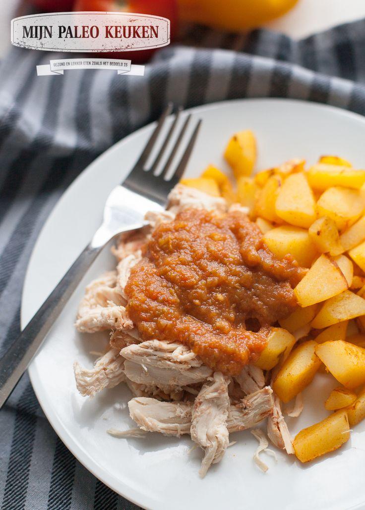 Crock-Pot knoflook kip met geroosterde paprikasaus - Mijn Paleo Keuken