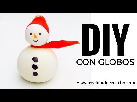 DIY para navidad con niños. Muñeco de nieve con globos y sal – RECICLADO CREATIVO, DIY Y MANUALIDADES