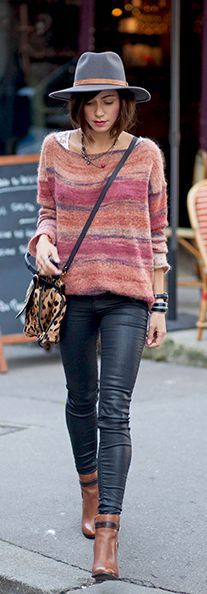 Zoé Alalouch is wearing a jumper from Mango, trousers from Zara and the boots are from Aldo...   Style Inspiration