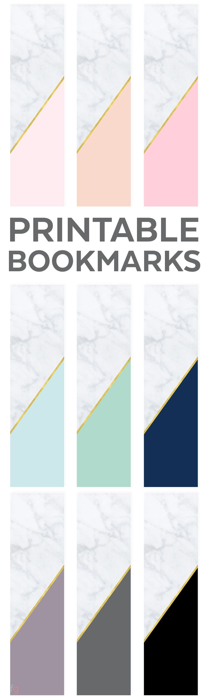 Bookmarks Printable | Free Printable Bookmarks Free | Book Lovers | Free Printable Bookmarks for Adults | Modern Printables | Marble and Gold via @frugalitygal
