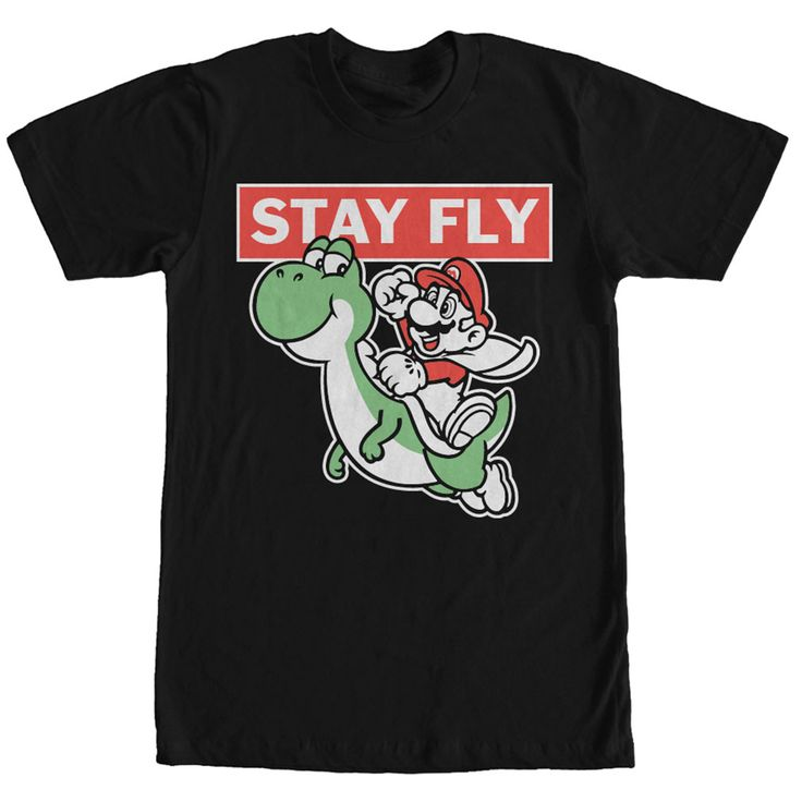 Discount Keep Fly <p>Stay fly and stay high in the clouds with the Nintendo Mario Stay Fly Black T-Shirt. Your favorite Mario Brothers characters, Yoshi and Mario, are flying across this durable black tee with Stay Fly in bold print above them. 100% Cotton Adult 30/1s Tee Shirt 4.3 oz 100% Ringspun Cotton, Preshrunk Jersey Tubular 3/4 inch Seamless Rib Knit Collar Taped neck and shoulders Double-Needle Sleeve and Bottom Hem T-Shirts - Shop for printed, sporty t-shirts online for men & women…
