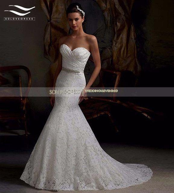 2016 In Stock!! Real Photo Cheap Elegant Mermaid Lace Wedding Dress Sweetheart Bridal Gown vestido de noiva Casamento W08