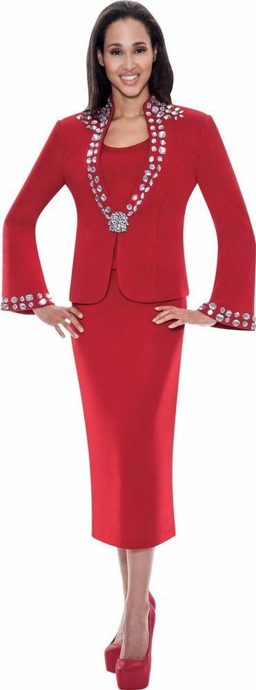 Todd & Olivia Red Skirt Suit Church Wedding Mother of the Bride Groom Dress #ToddOlivia #SkirtSuit