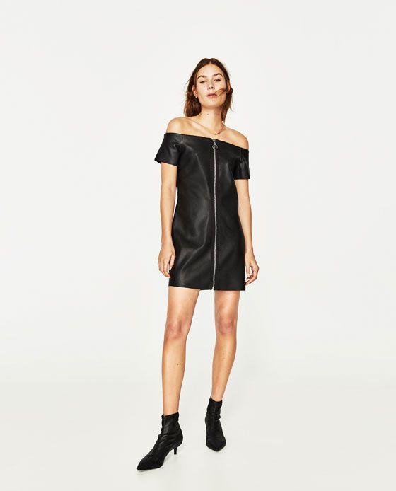 ZARA - WOMAN - LEATHER-EFFECT DRESS