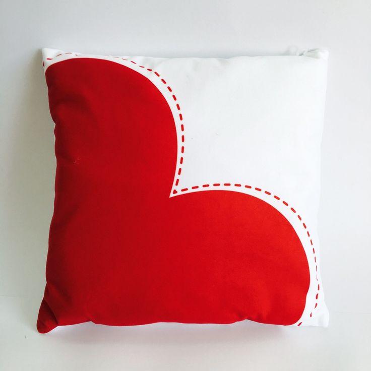 Red heart cushion. Teen girl cushion