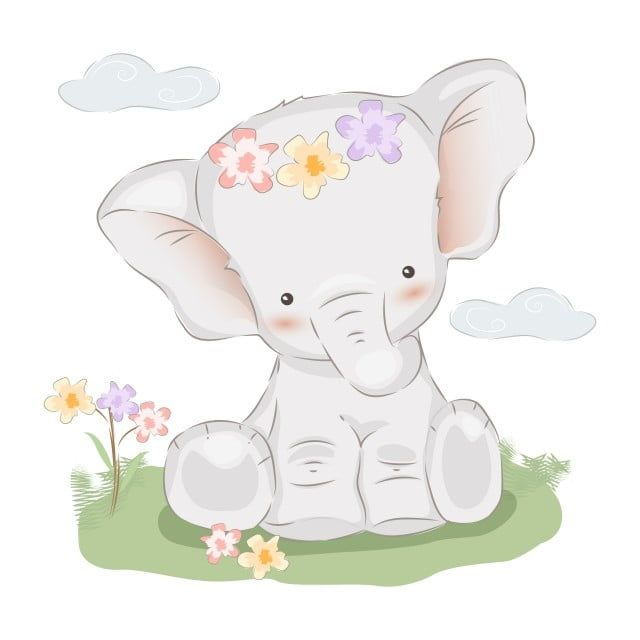 Adorable Baby Elephant Illustration Baby Elephant Clipart Abstract Adorable Png And Vector With Transparent Background For Free Download Elephant Illustration Baby Elephant Baby Animal Prints